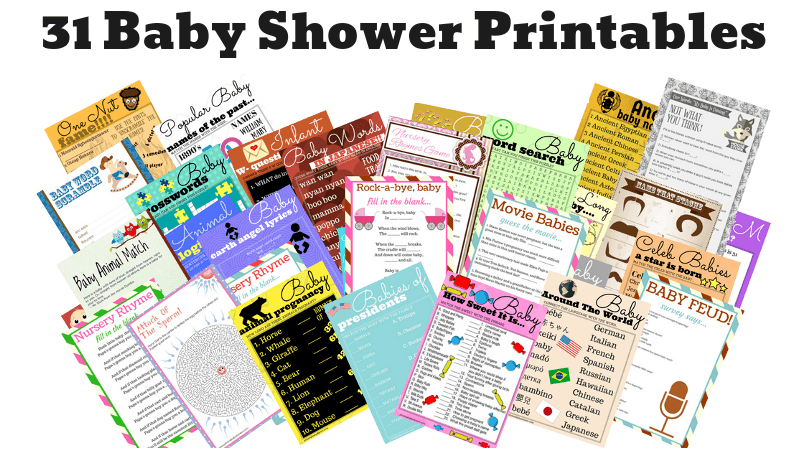 graphic relating to 75 Printable Baby Shower Games With Answers known as 31 Printable Little one Shower Online games